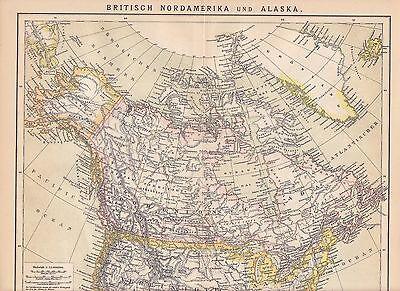 Kanada Alaska Grönland LANDKARTE von 1882 Baffininsel Hudson Bay