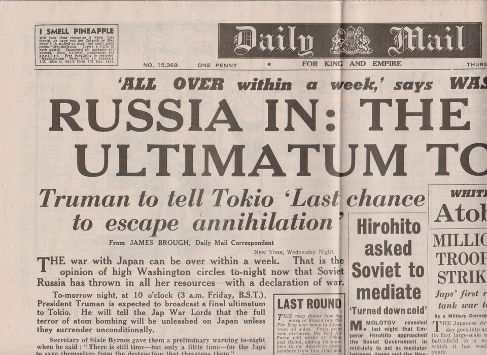 WW2 Wartime Newspaper Daily Mail August 9 1945 Russia Joins War Against Japan