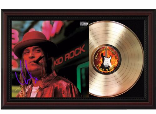 """Kid Rock Framed Cherry wood Reproduction Signature LP Record Display """"M4"""""""