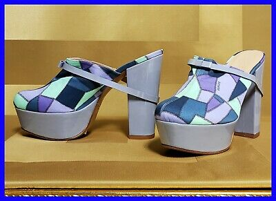 NEW VERSACE VERSUS LILAC PATENT LEATHER MOSAIC PRINT PLATFORM SABOT SHOES 37 - 7