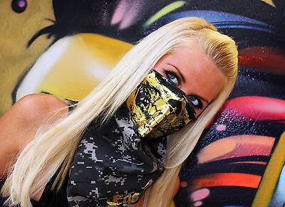 GOLD Skull Urban subdued camo Military Digital Bandana face Mask dust scarf rave - Gold Bandanas