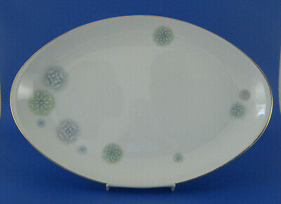 Meito Carousel Large Oval Serving Platter Green Blue Gray Snowflakes Japan