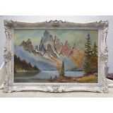 Beautiful Vintage Lake & Mountains Landscape Oil Painting w Ornate Antique Frame