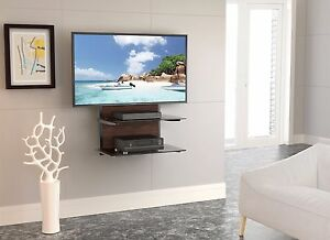 component shelf wall mount with wood grain and 2 tier glass shelves for dvd av - Wall Mount Shelf