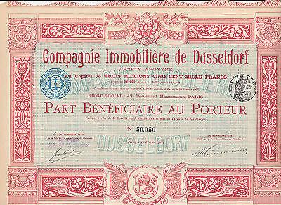 Compagnie Immobiliere de Dusseldorf-Action 100 Francs von 1905