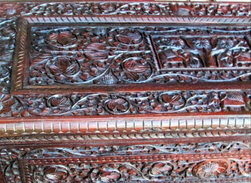 """Antique Chinese Chest Highly Hand Carved Wooden Coffer KL Co 4-Caryatids 47""""x20"""""""