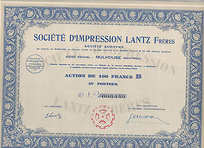 Societe D'Impression Lantz Freres, Mulhouse-Elsass-Aktie von 1929