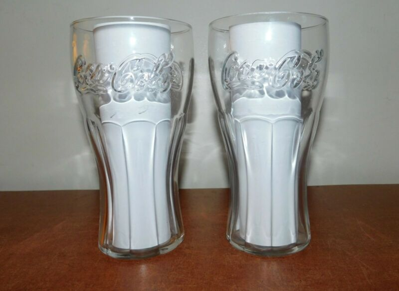 Lot of 2 Clear Glass Bell Shape Coca Cola Coke Tumblers 6 1/2 inches