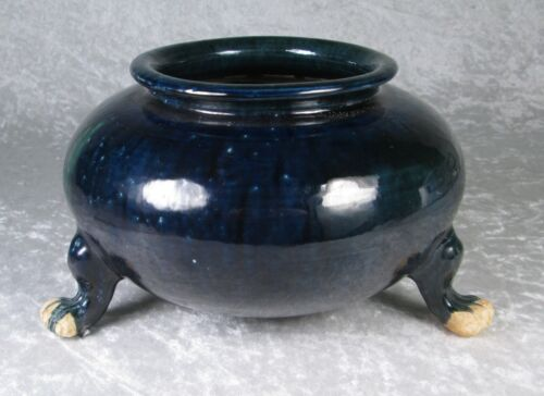 Antique Chinese Tang Dynasty Censer 3 Foot Blue Green Glaze Incense 8in Diameter