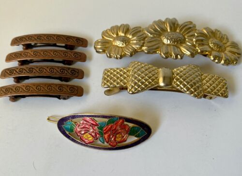 Lot of 7 Assorted Styles Vintage Hair Clips Barrettes Accessories