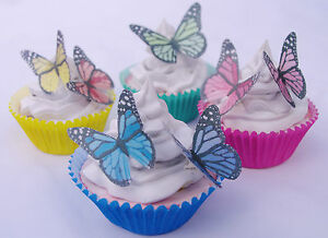 Edible Butterfly Cake Decoration Monarch 20pc Rainbow Rice Paper Birthday Party