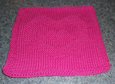 Brand New Hand Knit Cotton Dish Cloth Hot Pink Heart Design 4 Dog Rescue Charity