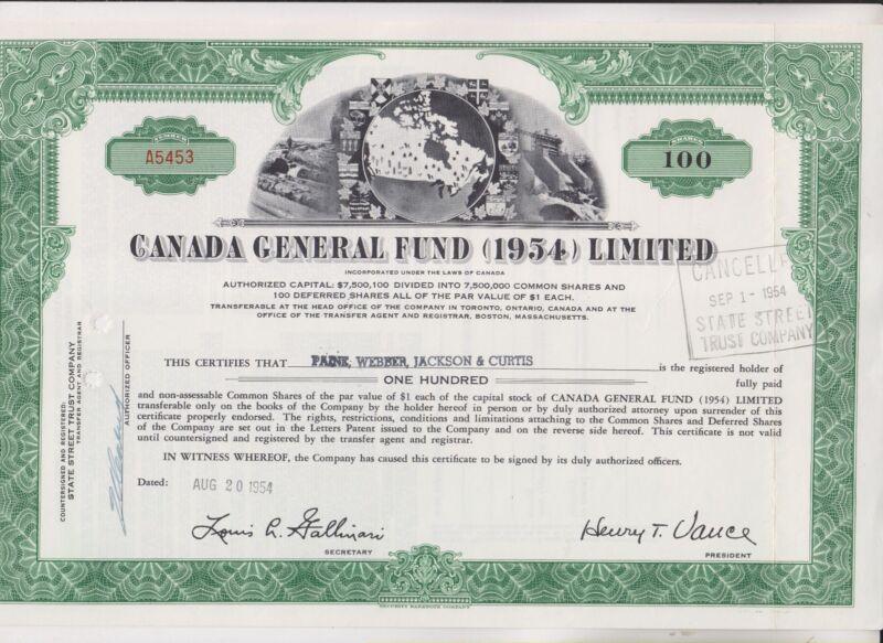 1954 CANADA GENERAL FUND (1954) LIMITED STOCK CERTIFICATE - CANADA