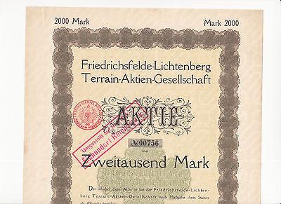 Friedrichsfelde-Lichtenberg Terrain-Aktien-Gesellschaft 1909, Berlin, M 2.000,00