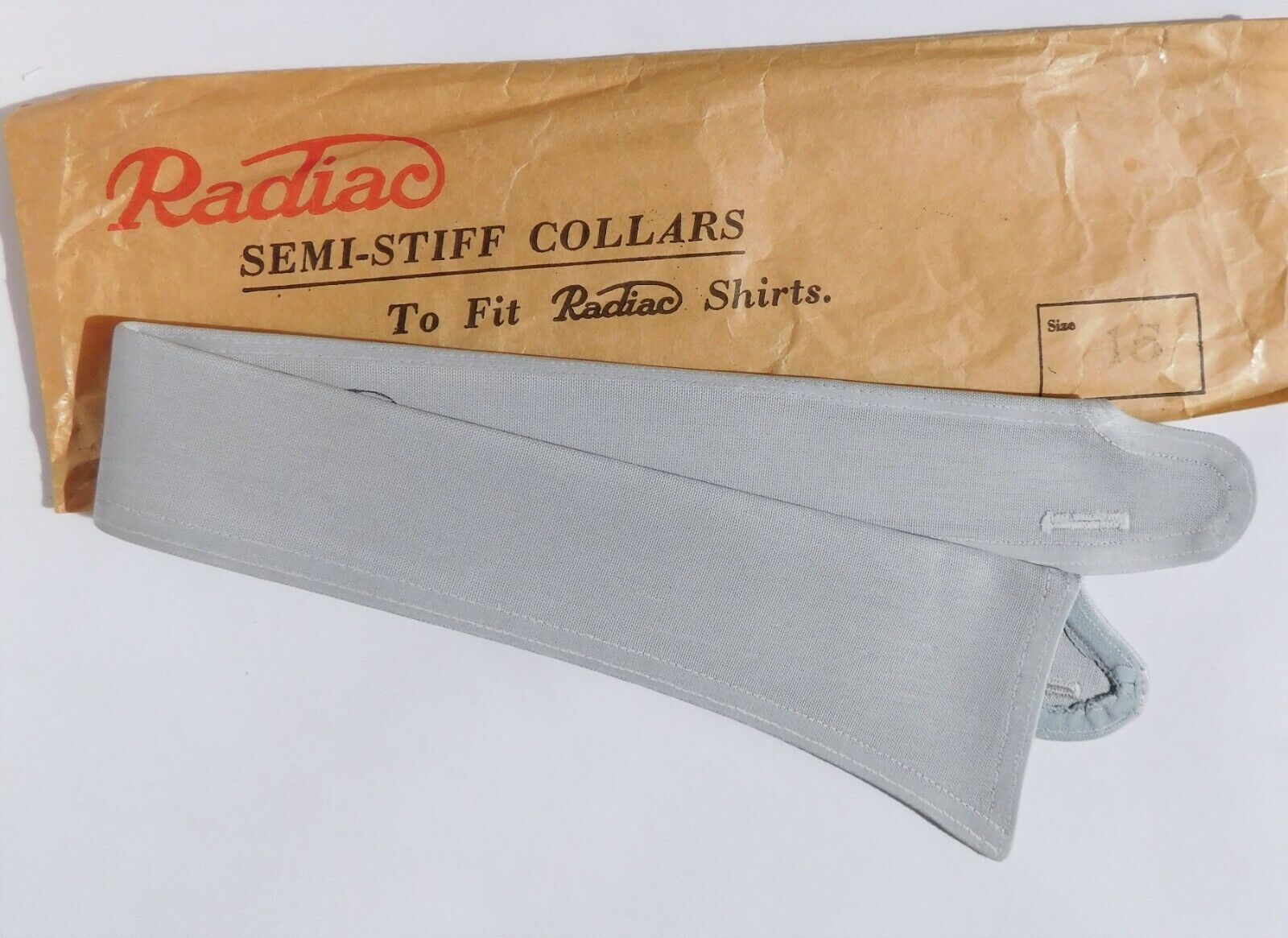 Light grey vintage shirt collar size 15 Radiac Rex UNUSED detachable semi stiff