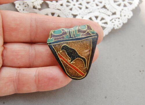 "Sawdust Art Jewelry Cloisonne Pin Raven Crow Black Bird Boho Artist Made 1 3/8"""