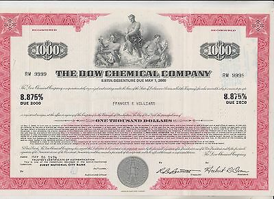 1974 Dow Chemical Company Debenture Certificate    Delaware