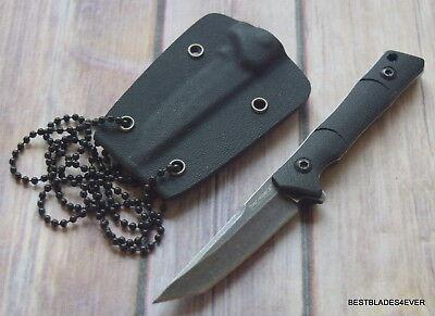 TACFORCE BLACK FINISH FULL TANG NECK KNIFE FIXED BLADE WITH HARD KYDEX SHEATH  Black Blade Kydex Sheath