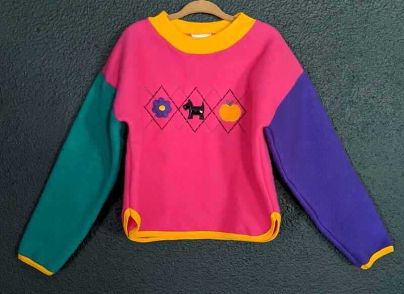 Vintage Girls Color block Sweater 80s 90s Teddy Bears N Tea Cups Scottie Size 4