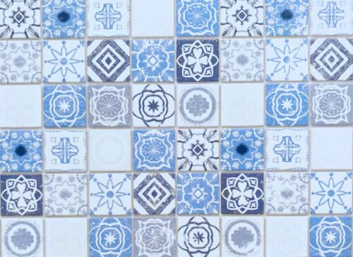 Dollhouse Miniature Embossed Antique Azure Mediterranean   Tiles / Wallpaper
