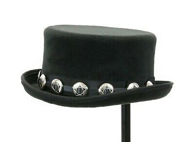 Leather Cowboy Hat Hats - Hat Band for Cowboy Hats - Black Leather With Small Concho Punk Rockers USA Made