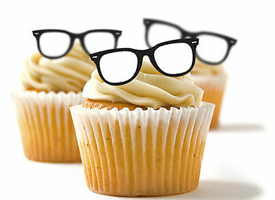 ✿ 24 Edible Rice Paper Cup Cake Topper, decorations - Geek glasses spectacles - Cup Cake Decorations