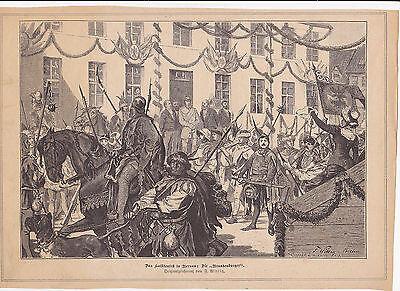 Alter Holzstich v.1882:Das Hussitenfest in Bernau-die Brandenburger-v.F.Wittig