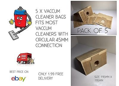 VACCUM CLEANER BAGS BEST PRICE PK OF 5 FITS MOST ROUND FIT 45MM