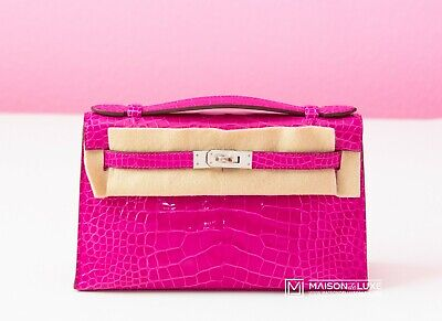 NEW HERMES ROSE SHEHERAZADE PINK CROCODILE KELLY POCHETTE MINI CLUTCH BAG BIRKIN