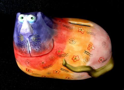 Cheerful Colorful Ceramic Folk Art Kitty Cat Piggy Bank Glossy Finish