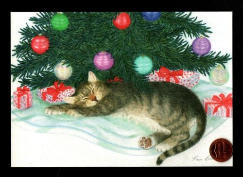 Christmas Gray Cat Kitten Sleeping Tree Gifts  By PARIS BOTTMAN - Greeting Card