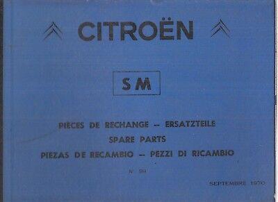 CITROEN SM 2.7 LITRE V6 ORIGINAL 1970 FACTORY PARTS CATALOGUE (GB F D E I TEXT)