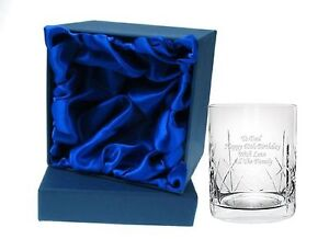Personalised CR2 Engraved Crystal Whisky Mixer Glass in Silk Linned Gift Box