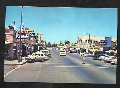 YUBA CITY CALIFORNIA DOWNTOWN STREET SCENE CORNER DRUG STORE POSTCARD (Yuba City Stores)