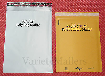 10 Poly Bag 5 Kraft Bubble Mixed Lot 2 8.5x12 10x13 Self-sealing Mailers