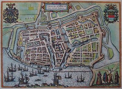 Emuda - Emden - Braun und Hogenberg - Originaler Kupferstich um 1580