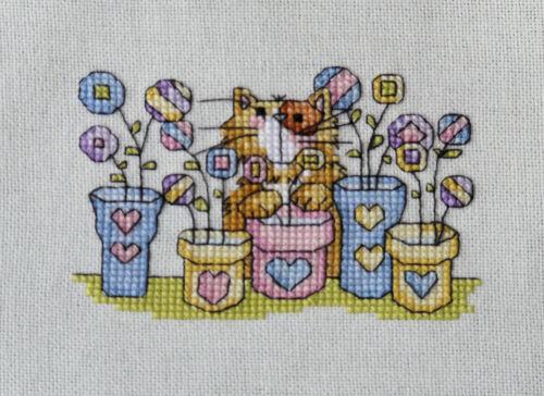 cute kitten cat amongst flower pots completed cross stitch animals gift
