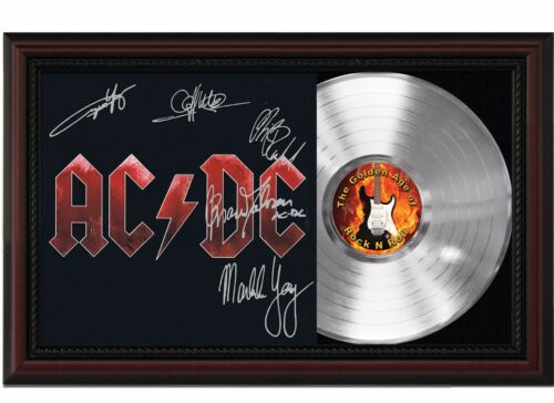 """AC/DC Framed Cherry Wood Reproduction Signature LP Record Display """"M4"""""""
