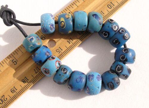 Antique Mix of Opaque Blue Eye Beads African Trade Venetian Glass Roman