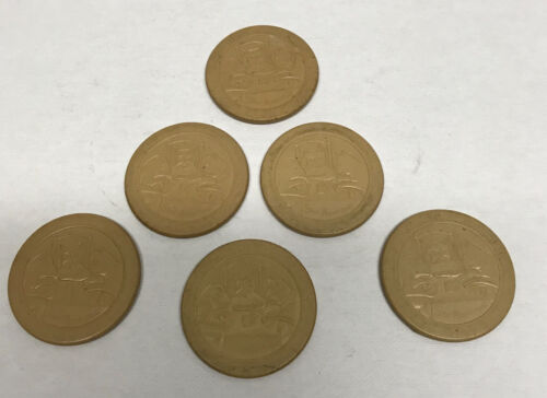[69129] LOT OF 6 VINTAGE TAN CLAY POKER CHIPS