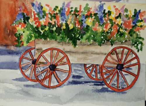 Original ACEO Or ATC Watercolor Miniature Painting - Flower Cart - $5.85