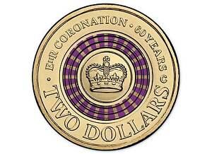 2013 THE 60TH CORONATION OF QUEEN $2 COLOURED COIN - 'C' MINTMARK  ***NEW***