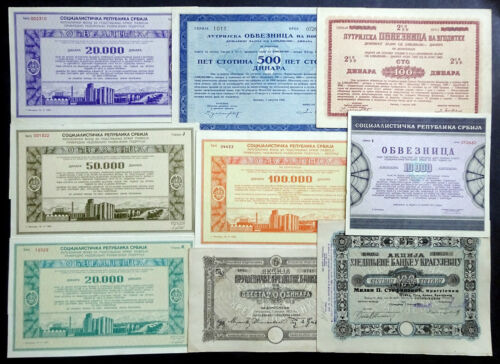 Serbia: Lot of 9 Serbian Stock & Bond Certificates, various dates