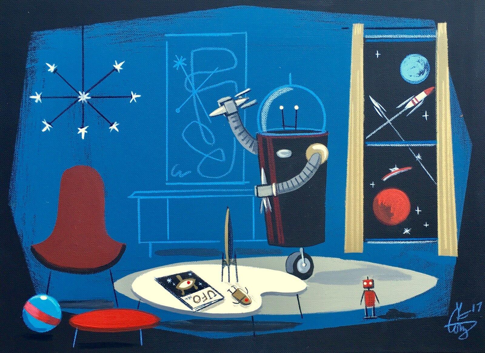 EL GATO GOMEZ RETRO SCI-FI OUTER SPACE ROBOT TOY MID CENTURY MODERN 50'S  PRINT