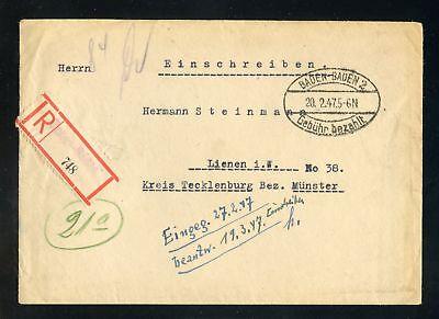 BADEN R-BRIEF GEBÜHR BEZAHLT BADEN-BADEN 20.2.1947 !!! (951831)