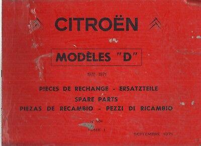 CITROEN DS20 ID20F DS21/M ID21F SAL ESTATE CABRIO '70-71 FACTORY PARTS CATALOGUE