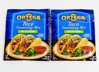 2 packs Ortega Taco 40% LESS SODIUM Seasoning Mix 1.25oz per packet -