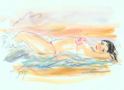 Playboy Artist Doug Sneyd Signed Original Art Sketch Sunbathing Bikini Brunette