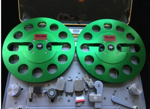 """ONE PAIR   New  7"""" Anodized Aluminum  metal Reel to Reels  Green"""