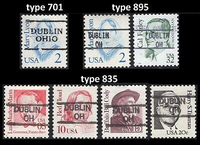 Precancel – Dublin, Ohio types 701, 835, and 895 on seven Great Americans